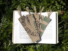 5 Bookmarks Made From Recycled Coffee Sacks by simplyrenewed