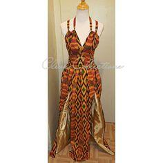 Kente Queen African Print plunging Halter Two Slit Maxi Dress African Wear, African Attire, African Dress, African Fashion, Ankara Fashion, Robe Kente, Kente Dress, Backless Maxi Dresses, Maxi Dress With Slit