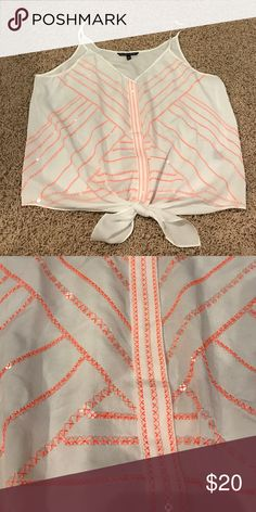White top with orange stitching/sequins Never worn. Like new condition! Victoria's Secret Tops Crop Tops
