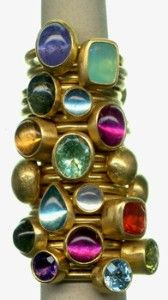 Stephanie Albertson stackable colored gemstone rings
