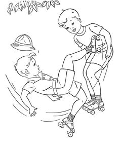 Adult Coloring Books for Boys Coloring Pictures For Kids, Coloring Pages For Boys, Coloring Book Pages, Roller Derby Tattoo, Embroidery Patterns, Hand Embroidery, Kids Roller Skates, Boy Coloring, Vintage Coloring Books