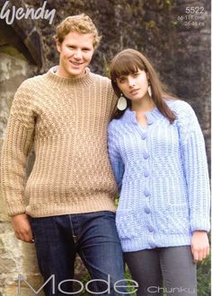 KNITTING PATTERN WENDY 5522 CHUNKY JACKET AND SWEATER JUMPER £2.50