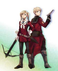Arthur with his Nyotalia counterpart - They look almost like they came out of a fantasy RPG or something. - Art by Hokke
