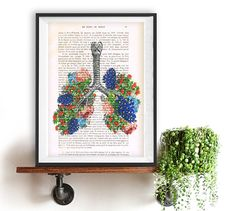 Flowery Lungs 01  Anatomy Print on 1900s antique page.  The genuine antique paper I use comes from 1900s original antique french book page.  The