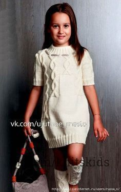 Diy Crafts - Knitting for girls Girls Knitted Dress, Knit Baby Dress, Cable Knit Sweater Dress, Sweater Set, Diy Crafts Dress, Girls White Dress, Girls Sweaters, Baby Knitting Patterns, Sweater Fashion