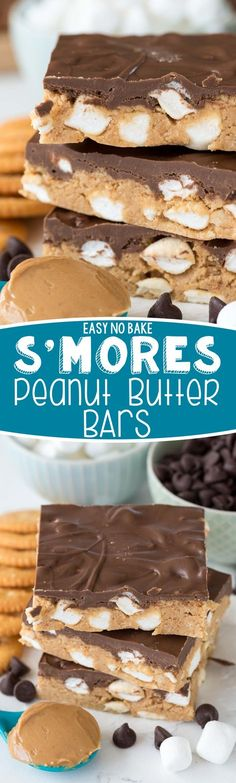 No Bake S'more Peanut Butter Bars - this easy no bake peanut butter bars recipe is filled with marshmallows to make them like s'mores! Try this using my graham cracker crumbs instead of ritz crackers Peanut Butter Desserts, Peanut Butter Bars, Köstliche Desserts, Delicious Desserts, Dessert Recipes, Yummy Food, Bar Recipes, Holiday Desserts, Healthy Desserts