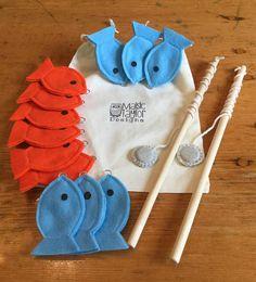 Felt Magnetic Fishing Set - 2 Players - Kids Fishing Set - Montessori Busy Game - Kids Birthday Gift - Blue & Orange Fish - Educational Game