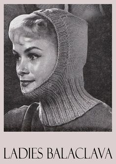 PDF Vintage 1960s Womens Ladies Hat Knitting Pattern Balaclava Vintage Crochet Patterns, Vintage Knitting, Baby Knitting Patterns, Knitted Balaclava, Knitted Hats, Land Girls, Capes For Women, Baby Kittens, Knitting Accessories