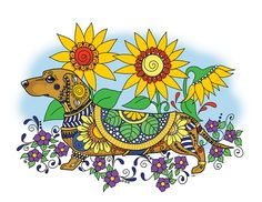 Dachshund Art, Daschund, Zentangle, Miniature Dachshunds, Coloring Book Art, Dog Art, Photo Art, Moose Art, Puppies
