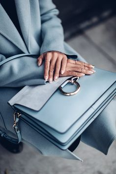 The prettiest shade of blue! Love this Chloe bag I wore with a matching baby blue coat. Love soft shades like that Baby Blue Aesthetic, Light Blue Aesthetic, Chloe Bag, Blue Photography, Color Type, Design Bleu, Viva Luxury, Bleu Turquoise, Blue Handbags
