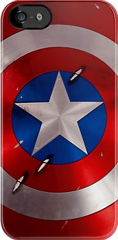 Made in USA, Captain America Shield - Star and Circle Pattern on rounded steel iPhone 5, iphone 4 4s, iPhone 3Gs, iPod Touch 4g case