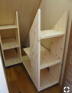 Under stairs storage? Under stairs storage? Attic Storage, Storage Stairs, Under Stair Storage, Eaves Storage, Garage Storage, Storage Room, Stair Shelves, Garage Loft, Smart Storage