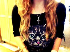 1/21/14 My long natural curls along with my new cat shirt le madre got me yesterday :3 #CatCrew