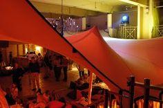 Stretch tent hung inside a building