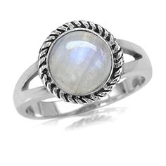 Natural Moonstone Antique Finish 925 Sterling Silver Rope Solitaire Ring