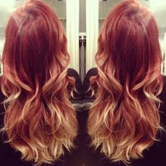 Red to rosegold ombre Aveda color