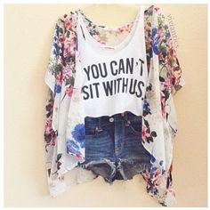 Image via We Heart It https://weheartit.com/entry/170827961/via/30147437 #clothes #flower #jean #jeanshorts #kimono #outfit #pattern #shorts #style #summer #tanktop #distressedshorts #youcan'tsitwithus #flowerkimono