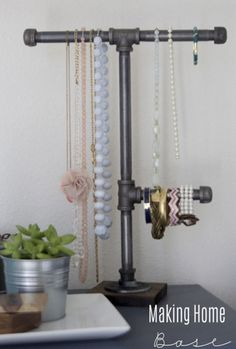 Jewelry display craft using plumbers pipe