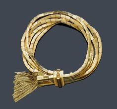 Jewellery we love!  www.silvertownart.com  Vintage Gold Tassel Bracelet