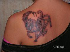 tattoo grey ink capricorn leo and aries capricorn tattoo on back Aries And Sagittarius, Capricorn Tattoo, Aries Zodiac, Tattoos For Guys, Tattoos For Women, Zodiac Symbols, Star Tattoos, Shoulder Tattoo, Back Tattoo