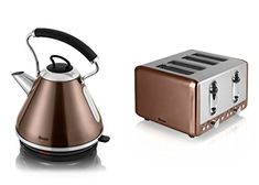 Swan Kitchen Appliance Copper Townhouse Set - 1.7L Pyramid Kettle and 4...