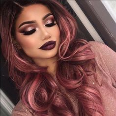 Ombre Rose Gold, Cabelo Rose Gold, Rose Gold Hair Brunette, Rose Gold Brown Hair, Black And Burgundy Hair, Burgundy Hair Ombre, Maroon Hair, Red Ombre, Blonde Brunette