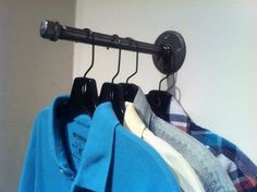 Industrial Pipe Clothing Hook Garment Hanger 10 - Made with Black Pipe and Black Pipe Fittings - 10 Long - Hardware Not Included - Customization Available Upon Request