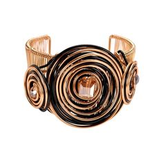 Gold Metal Cuff Bracelet Featuring Black and Gold Coiled Wire with Bead Center. Wholesale Jewelry, Cufflinks, Fashion Jewelry, Wire, Beads, Metal, Bracelets, Gold, Accessories