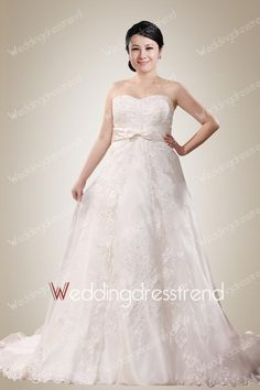 [$168.00] Fantastic Sweetheart Plus Size Wedding Dress with Sashes