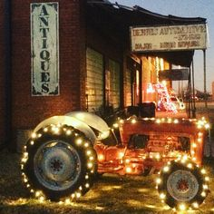 Even our tractor got decked out in lights for The Old Store's 'Christmas in Paris!' #the_old_store