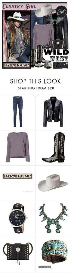 """""""Country Girl Hats"""" by polyvore-suzyq ❤ liked on Polyvore featuring AG Adriano Goldschmied, WithChic, ATM by Anthony Thomas Melillo, Stetson, Bailey Western, Coach, Bandana, Sweet Romance and country"""