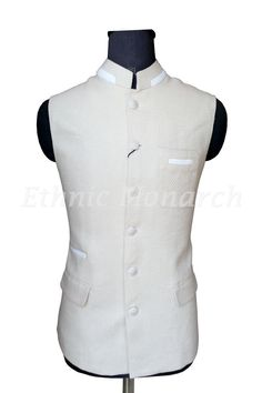 Breathtaking cream nehru jacket in fine jute fabric. The color and design are very cool in looks and feel. Best wore over dark color breeches or jeans and shirt or kurta. Nehru Jacket For Men, Nehru Jackets, Indian Men Fashion, Unique Fashion, Mens Fashion, Modi Jacket, Wedding Suits, Wedding Wear, White Kurta