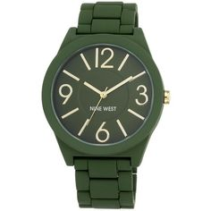 Nine West  Rubberized Bracelet Watch ($20) ❤ liked on Polyvore featuring jewelry, watches, accessories, bracelets, green, bracelet watch, rubber wrist watch, green dial watches, green watches and quartz movement watches