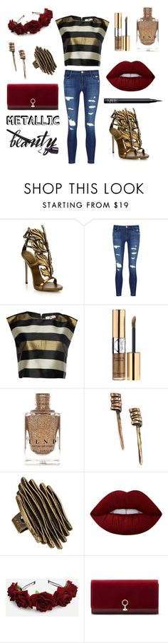 """Metallic Beauty"" by lorrettaflange ❤ liked on Polyvore featuring beauty, Giuseppe Zanotti, J Brand, True Decadence, Yves Saint Laurent, Chanour, Lime Crime, Louise et Cie and NARS Cosmetics"