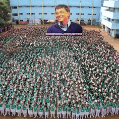 Indian schoolchildren holds masks with the face of Microsoft founder and philanthropist Bill Gates to mark his 60th birthday at a school in Chennai on October 28 2015. Photograph by @afpphoto@gettyimages. by time