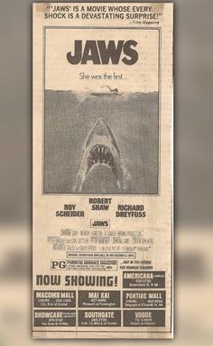 "It's crazy to think that when it was released, Jaws was just rated PG! Parents must've been pissed 😂😂😂  (It's rated PG-13 now. The rating didn't exist until 1984 after outraged parents complained about Indiana Jones and the Temple of Doom being rated PG. Stephen Spielberg came up with the idea for  PG-13 to fill the void between PG and R. Months later, Patrick Swayze's, ""Red Dawn"", wound up being the first PG-13 film.)"