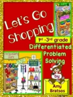 Students will love choosing items from the three well-decorated stores as they Christmas shop and problem solve using money spent on gifts. All prices are rounded to the dollar and the problems are differentiated, the simplest being straightforward addition of two dollar amounts, so this is a great beginning story problem math center!