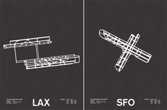 Chicago architect and designer Jerome Daksiewicz of Nomo Design has just released a new series of screenprints that illustrate the various configurations of major world airports. Right now he currently has editions for Chicago, San Francisco, Los Angeles International, and Minneapolis St-Paul, but will soon be adding an additional five cities. cc/ @Sha Hwang @straup