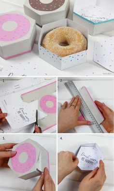 pudełko donut do druku / freebies / donut worry be happy Donuts Donuts embalagem Diy Donut, Donut Party, Donut Shop, Bakery Packaging, Food Packaging Design, Box Packaging, Printable Box, Party In A Box, Diy Box