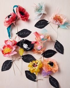 DIY Paper Flower Name Tags
