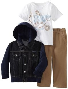 Calvin Klein Boys 2-7 Denim Jacket with Short Sleeve Tee Three Piece Set - 3 pieces set - Pant Sets - Apparel Love this!