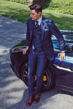 Three piece suit + Jaguar F-Type