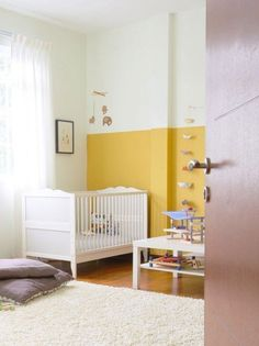 Color Blocking Two Tone Walls In Kids Rooms Color Blocking Two Tone Walls In Kids 39 Rooms Half Painted Walls, Half Walls, Yellow Kids Rooms, White Rooms, Bedroom Wall, Kids Bedroom, Demis Murs, Yellow Accent Walls, Two Tone Walls