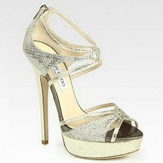Jimmy Choo Sierra Glitter Coated Sandals Champagne