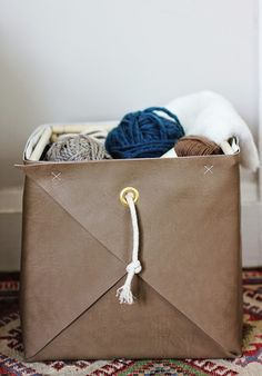 DIY Leather Basket from Poppytalk