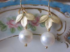 White Freshwater Round Pearl Earrings Gold Three Leaf - Bridesmaid Earrings - Bridal Earrings
