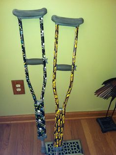 Use duct tape to decorate crutches