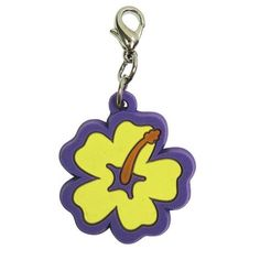 Hibiscus Soft Rubber Dog Collar Charm - Yellow/Purple. Keep a taste of the islands with you and your pal with the Hibiscus Soft Rubber Dog Collar Charm!Hibiscus flower.Lobster claw clip.Made of soft rubber.Why We Love It:An adorable and detailed Hibiscus flower in yellow with purple trim, made of soft rubber. Can be attached to the small D-ring on each one of our Klippo Collection apparel, or to a dog collar (a split ring is included with the charm to fit onto a collar).Sizing…