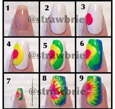10 Fun and Easy Nail Tutorials Nails for Imani 25 Fun and Easy Nail Art Tutorials. Cute and easy rainbow nails ideaNails for Imani 25 Fun and Easy Nail Art Tutorials. Cute and easy rainbow nails idea Cute Nail Art, Nail Art Diy, Diy Nails, Cute Nails, Shellac Nails, Acrylic Nails, Ongles Tie Dye, Tie Dye Nails, Do It Yourself Nails
