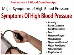 What are the Symptoms of High Blood Pressure?  1. High blood pressure is generally a chronic condition and is often associated with few or no symptoms. 2. When symptoms do occur, it is usually when blood pressure spikes suddenly and extremely enough to be considered a medical emergency. 3. Rare symptoms include dizzy spells, headaches, and nosebleeds.  If you wish to #donate_blood or looking for #blood_banks_list, so install #Jeevandata now…